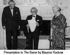 Presentation to The Baron by Maurice Rackow